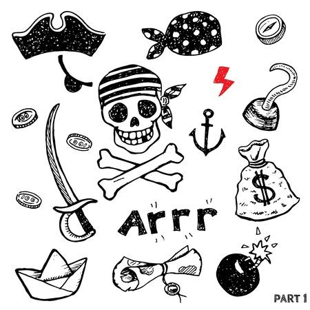 pirata: Conjunto de atributos de pirata para la lucha, el embarque y la vida cómoda, vector