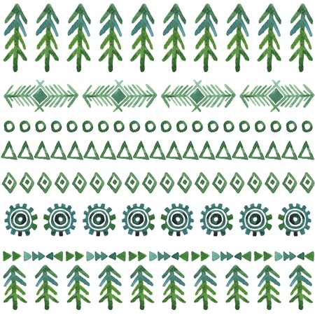 tribal vector seamless background, watercolor pattern with christmas tree Ilustração