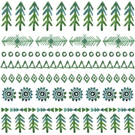 tribale vector naadloze achtergrond, aquarel patroon met kerstboom