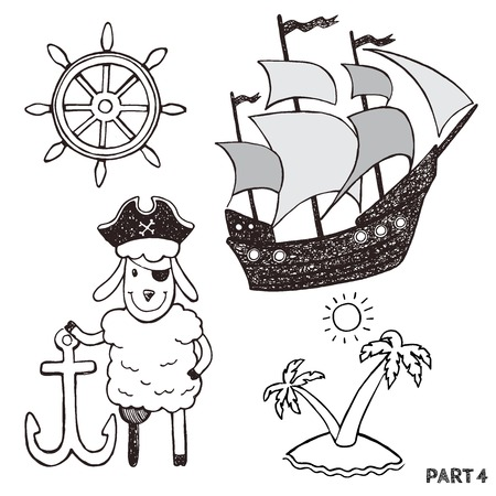 vessel: Sketch pirates set. Hand drawn illustrations. isolated pictures for little kids