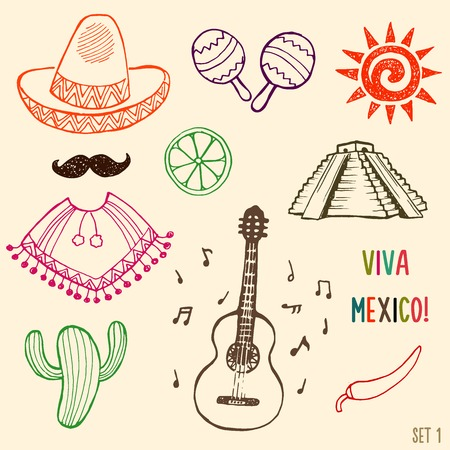 simbols: Hand drawn Mexico simbols set