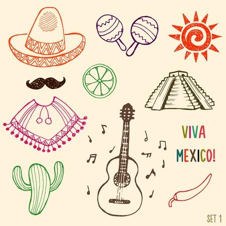 simbols: Hand drawn Mexico simbols set