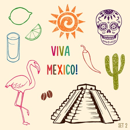 simbols: Hand drawn Mexico simbols set.