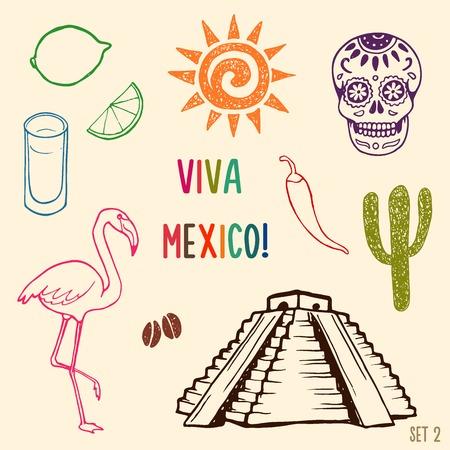 fiesta: Hand drawn Mexico simbols set.