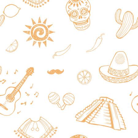 latinoamerica: Mexican sketch set. Seamless pattern.