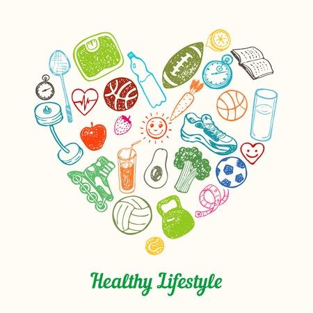 icono deportes: Antecedentes estilo de vida saludable. dibujado a mano iconos fijados en forma de corazón Vectores