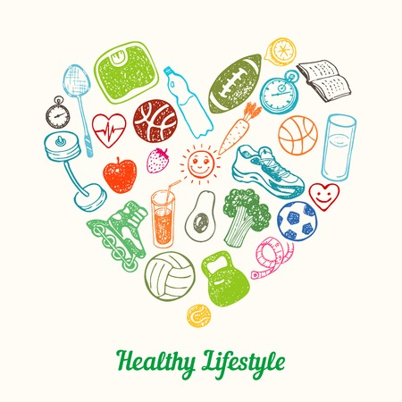 Healthy Lifestyle Background. Hand drawn Icons set in the shape of heart