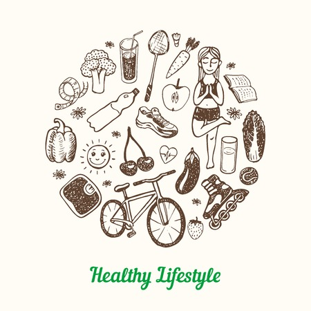 Healthy Lifestyle Background. Hand drawn Icons set.