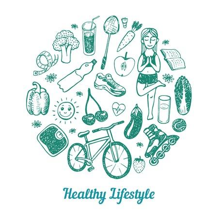 estilo de vida: Background estilo de vida saudável. Ícones desenhados mão ajustados. Ilustração