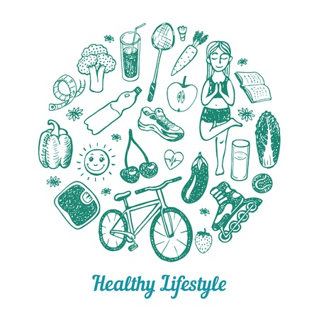 daily: Healthy Lifestyle Background. Hand drawn Icons set.