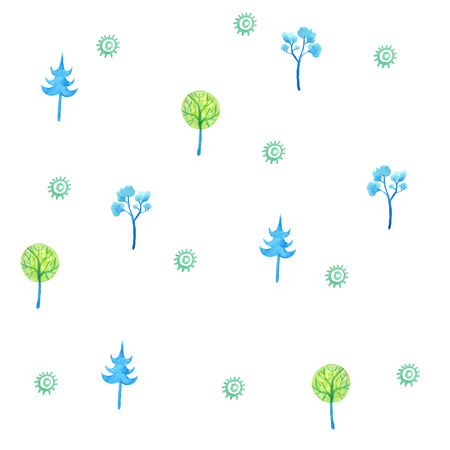 hand painted: Hand drawn seamless watercolor pattern with green and blue trees. Vector Eps. Illustration