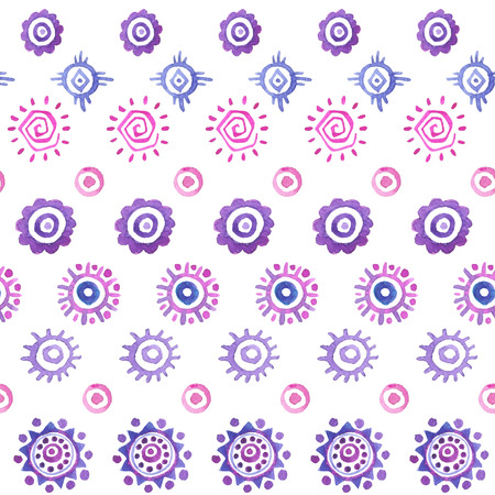 etnic: Hand drawn seamless watercolor pattern with etnic suns.