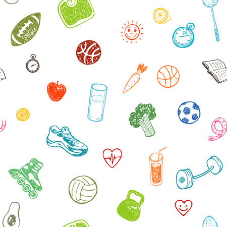 rollerblade: Healthy Lifestyle. Hand drawn seamless pattern. Healthy food, sport and fitness themes. Illustration