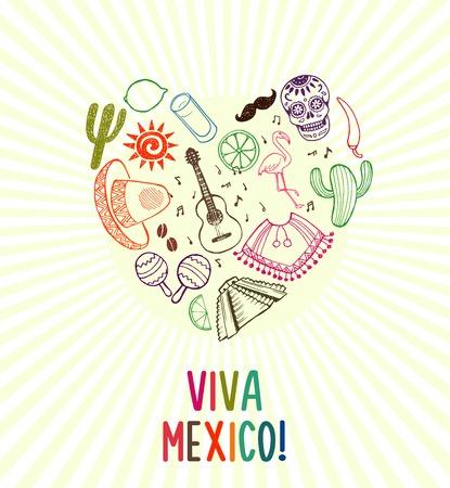 independencia: Cartel dibujado a mano Viva México Vectores
