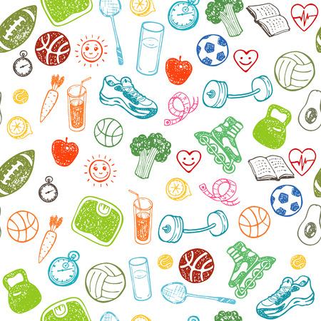 Gesunde Lebensweise. Hand gezeichnet nahtlose Muster. Gesunde Lebensmittel, Sport und Fitness-Themen. Standard-Bild - 42280161