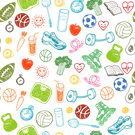 Healthy Lifestyle. Hand drawn seamless pattern. Healthy food, sport and fitness themes. Çizim