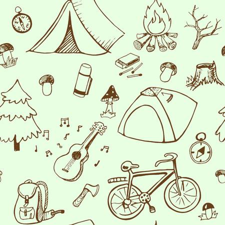 campamento: Acampar mano patrón dibujado mano transparente dibujado