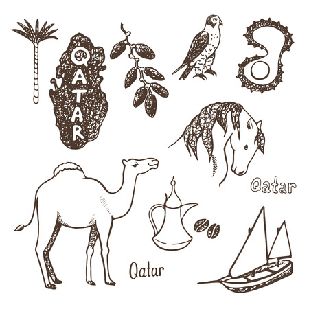 Qatar Country Sketch Icons Collection Vector