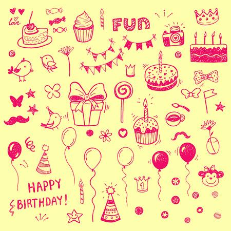 tortas de cumpleaños: Elementos Birhday. Dibujado a mano conjunto con las tortas de cumpleaños, globos, regalos y atributos festivas.