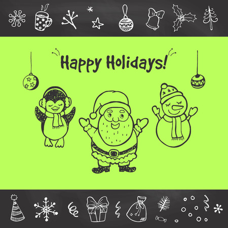 christmas funny: Happy Holidays! Christmas greeting card with hand drawn funny Santa.