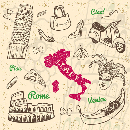colliseum: Hand drawn Italy symbols and landmarks set. Travel collection.