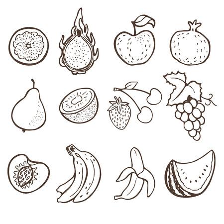 siluette: Hand drawn doodle fruits collection.