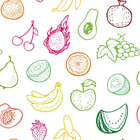 Creatieve naadloze patroon met de hand getekende vruchten. Perfect voor verpakking, inpakpapier design.
