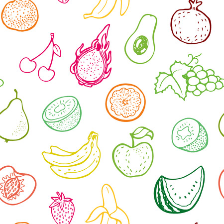 Creative seamless pattern with hand drawn fruits. Perfect for packaging, wrapping paper design.