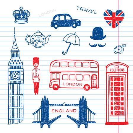 bus anglais: Hand drawn ensemble Angleterre, illustration vectorielle