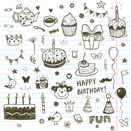 Birhday elements. Hand drawn set with birthday cakes, baloons, gift and festive attributes. Vettoriali