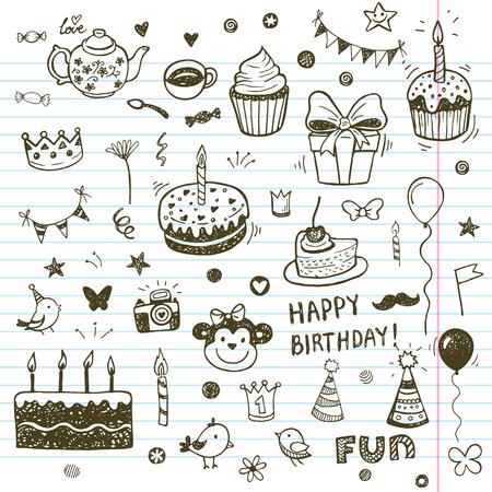 postres: Elementos Birhday. Dibujado a mano conjunto con las tortas de cumpleaños, globos, regalos y atributos festivas.