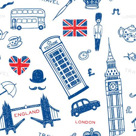 Hand getrokken naadloos patroon met Engeland symbolen en bezienswaardigheden. London stellen.