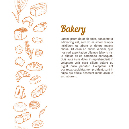 bread: Hand drawn bread on white background. Vertical seamless pattern background border. Illustration