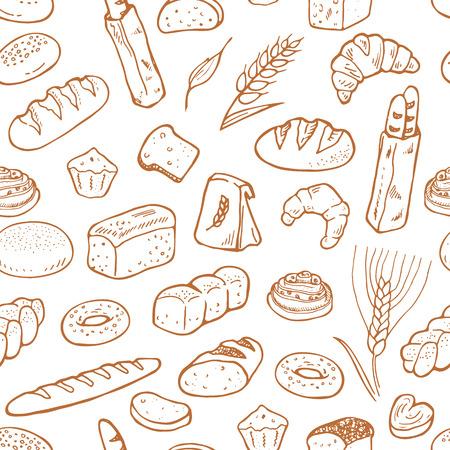 Ręcznie rysowane piekarni na białym tle. Bezszwowe tło wzór Ilustracje wektorowe