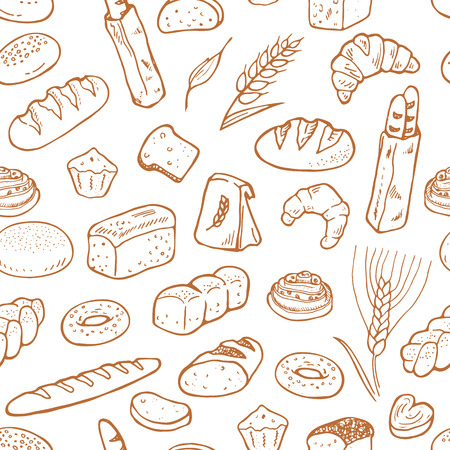 Hand drawn bakery on white background. Seamless pattern background