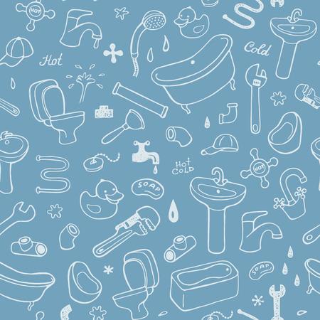 washstand: Hand drawn plumbing seamless pattern.