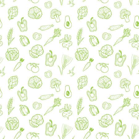 手描き下ろし野菜パターン。ベクトルの背景