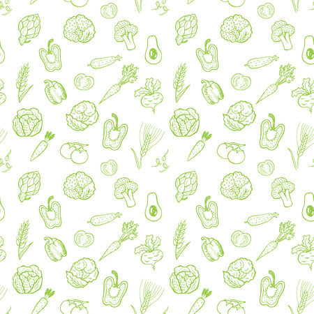 Hand drawn vegetable pattern. Vector background