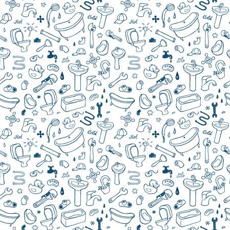Hand drawn plumbing seamless pattern.