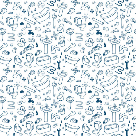 urinal: Hand drawn plumbing seamless pattern.