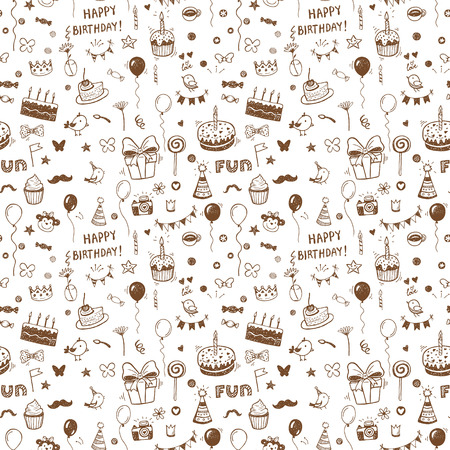 Hand drawn birthday seamless pattern. Vector background.