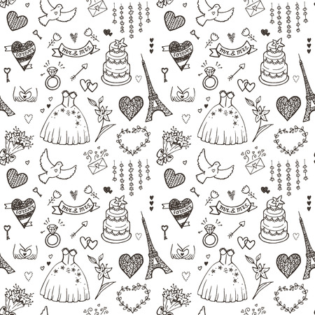 Hand drawn wedding seamless pattern. Vector EPS