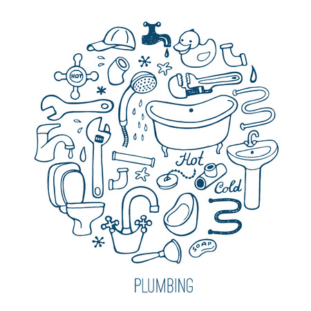 pipe wrench: Hand drawn creative plumbing background.