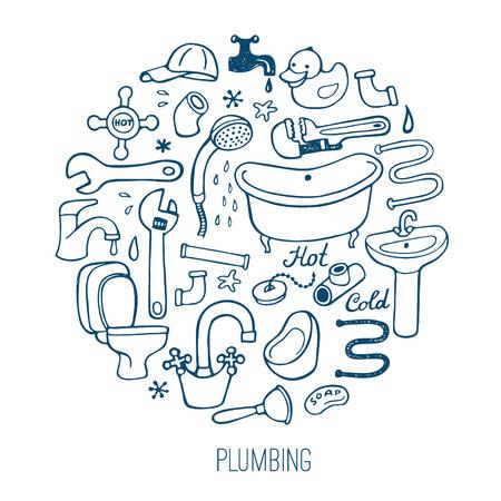 tube wrench: Hand drawn creative plumbing background.