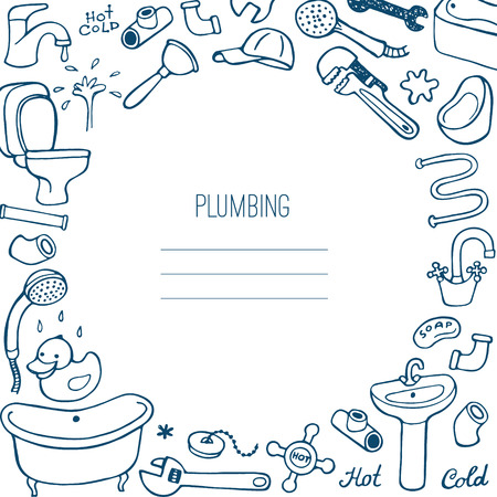 washstand: Hand drawn creative plumbing background.