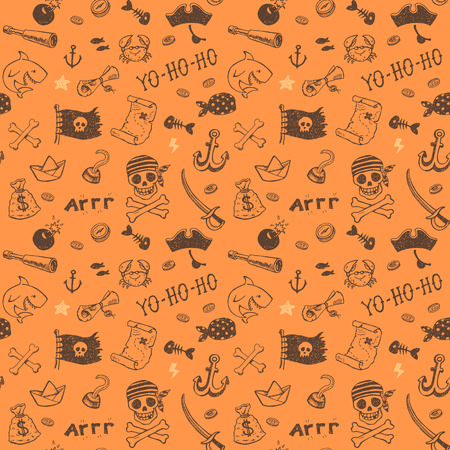 pirate: Hand drawn pirate seamless background. Vector pattern. Illustration