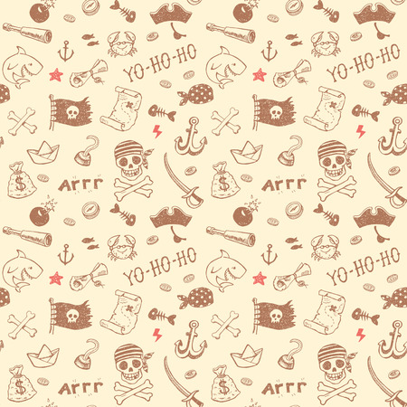 treasure: Hand drawn pirate seamless background. Vector pattern. Illustration
