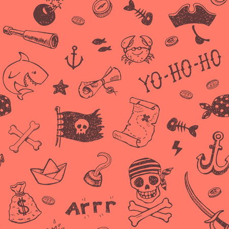 pirate boat: Hand drawn pirate seamless background. Vector pattern. Illustration