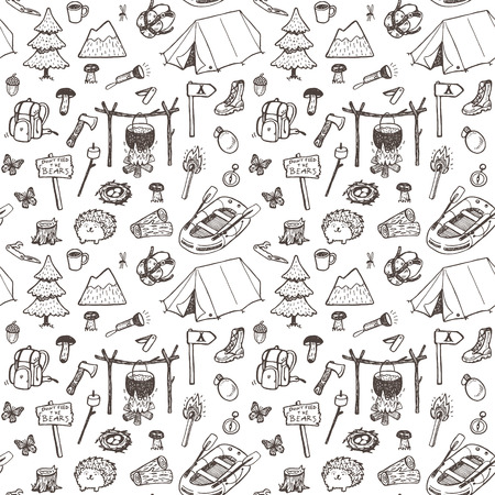 Hand drawn seamless pattern, picnic, travel and camping theme.