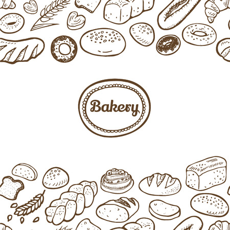 Hand drawn seamless bakery border.  Vector EPS. 向量圖像